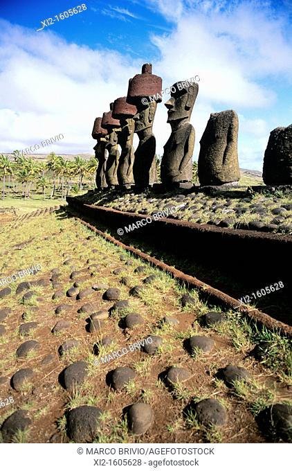 Moai statues at Easter Island Chile