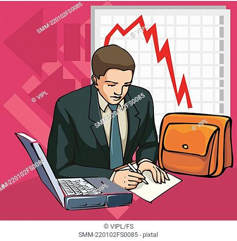 Businessman with laptop and line graph in background