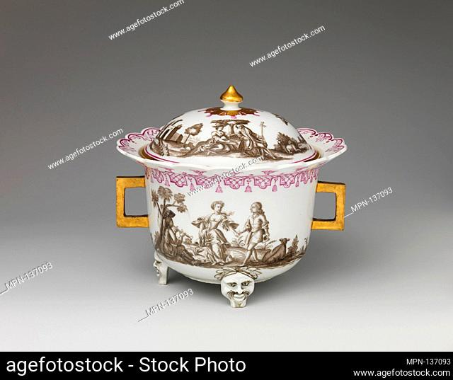 Covered bowl with figures in landscape. Factory: Vienna; Factory director: Du Paquier period (1718-1744); Date: ca. 1725; Culture: Austrian