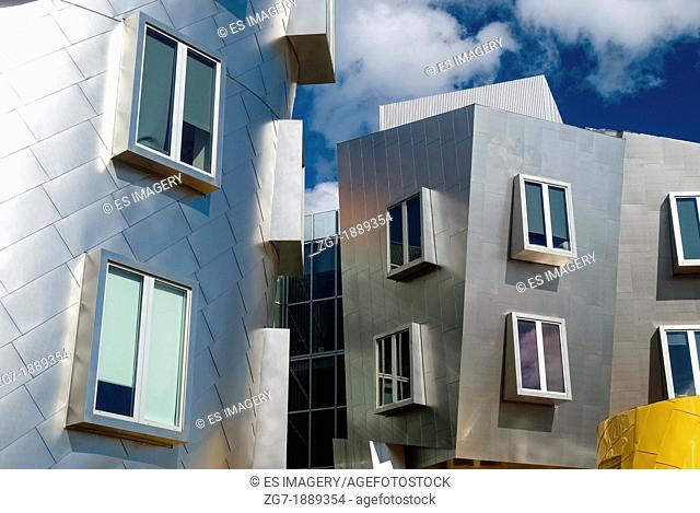 Detail view of Frank Gehry's Stata Center at the Massachusetts Institute of Technology