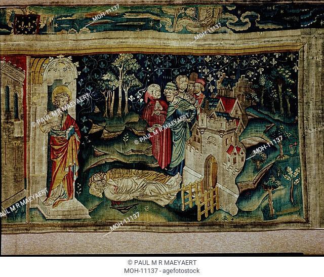 La Tenture de l'Apocalypse d'Angers, Joie des hommes devant les Témoins 1,55 x 2,53m, Freude über den Tod der beiden Zeugen