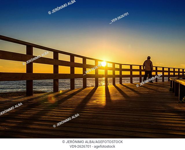 Sunset senda Litoral, pathway wooden walkway path, Mijas. Malaga province Costa del Sol. Andalusia southern Spain