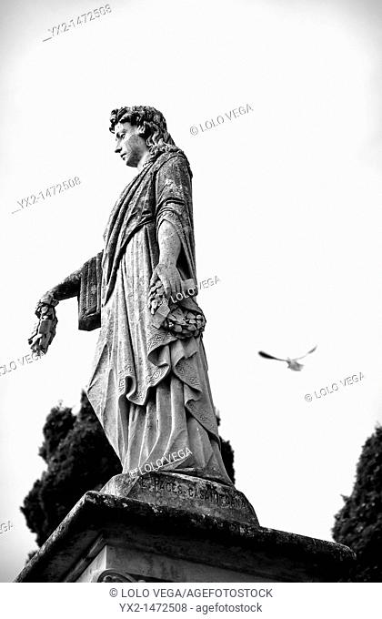 Funrerary statue in the cemetery of Caputxins, Mataro, Barcelona province, Catalonia, Spain