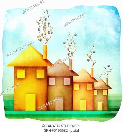 Money emerging from the chimneys of houses, illustration