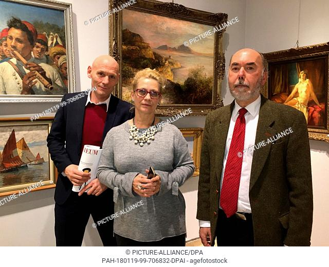 Experts for furniture and 19th century paintings Uli Prinz (l), Dimitra Reimueller and Alexander Strasoldo stand in the exhibition rooms of the Dorotheum in...