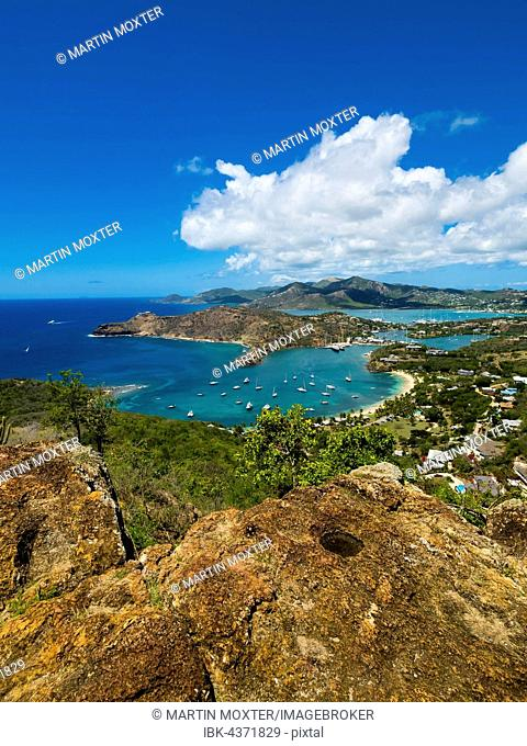 View from Shirley Heights to English Harbour and Windward Bay, Antigua, West Indies, Antigua, Antigua and Barbuda