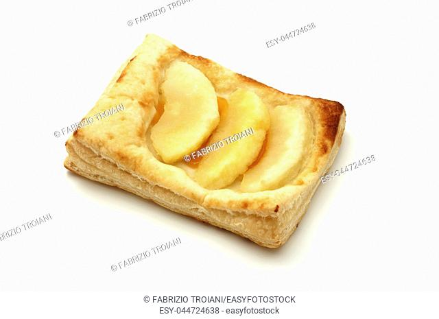 Apple puff pastry tartlet on a white background