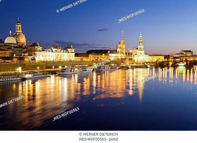 Germany, Dresden, Skyline at night