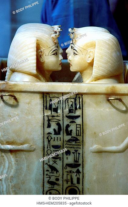 Egypt, Cairo, Cairo Museum, box in alabaster with four canopic jars to keep the viscera of a dead