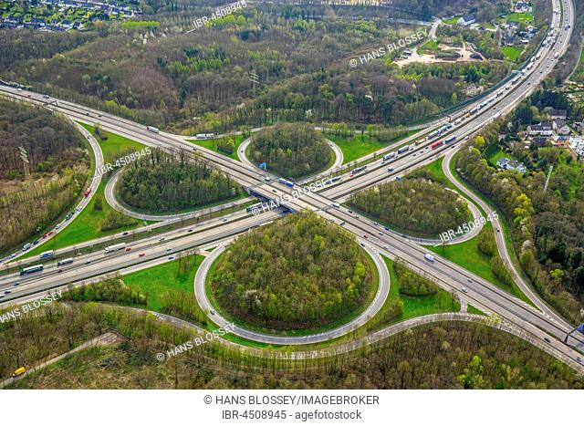 Motorway junction at Hagen, clover, Sauerlandlinie A45 and A46, Ruhr district, North Rhine-Westphalia, Germany