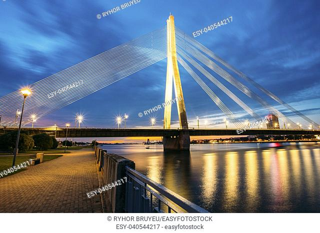 Vansu Bridge (Formerly Gorky Bridge) In Riga, Latvia. Shroud Bridge. Summer Evening With Blue Sky. 595 Meters In Length. Vansu Bridge - One Of The Symbols Of...