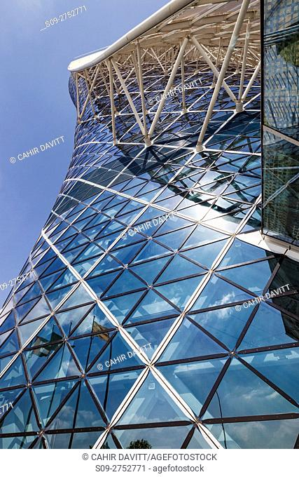 Contemporary styled Hyatt Capital Gate Hotel, designed by RMJM Architects in Capital Centre, Abu Dhabi, United Arab Emirates