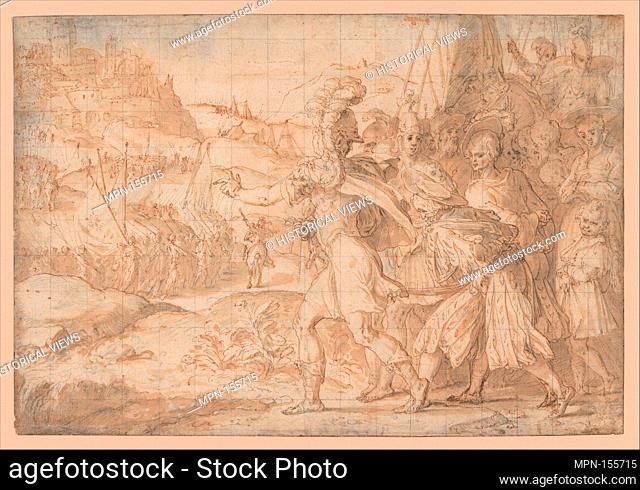 The Siege of Fiesole by the Goths. Artist: Friedrich Sustris (Netherlandish (possibly born Italy), Venice (?) ca. 1540-1599 Munich); Date: 1550-99; Medium:...