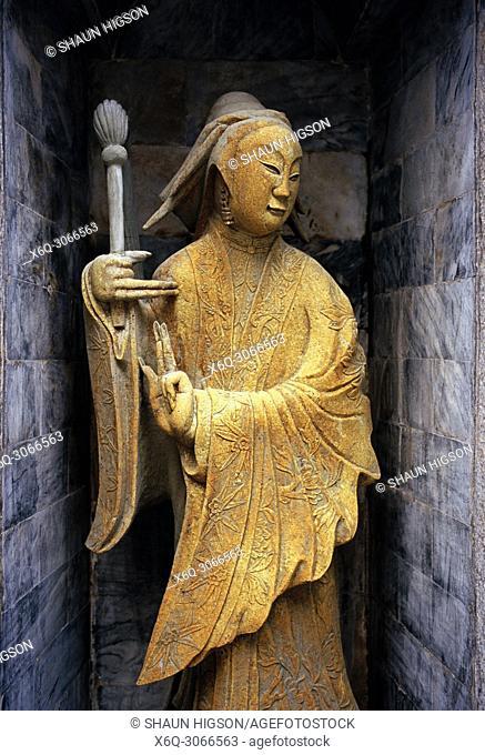 Sculpture at Wat Arun Temple of Dawn in Bangkok Yai Thonburi in Bangkok in Thailand in Southeast Asia Far East