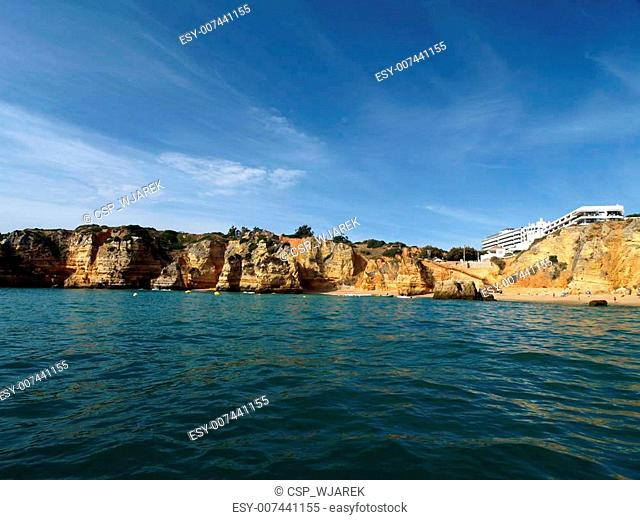 Picturesque Alagarve coast between Lagos and the Cap Vincent