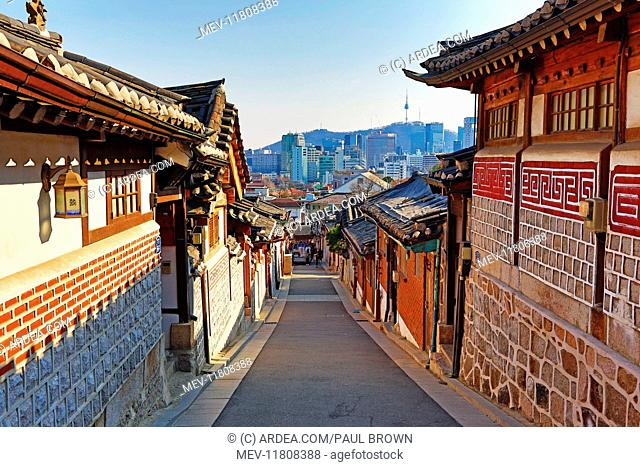 Street scene in the old town of Bukchon Hanok village in Seoul, Korea Paul Brown