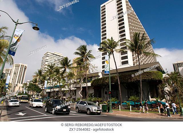 Buildings and hotels in Waikiki Beach. Kalakaua Avenue. O'ahu. Hawaii. Located on the south shore of Honolulu, the world-famous neighborhood of Waikiki was once...