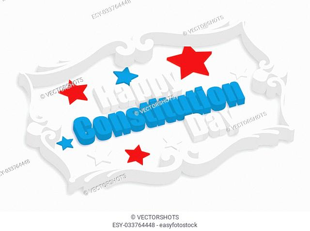 Drawing Art of Happy Constitution Day Vector in 3d text