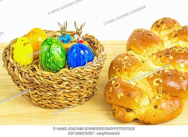 Easter nest with breaded yeast bun