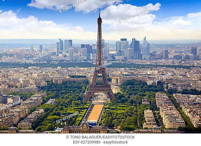 Paris Eiffel tower and skyline aerial view in France