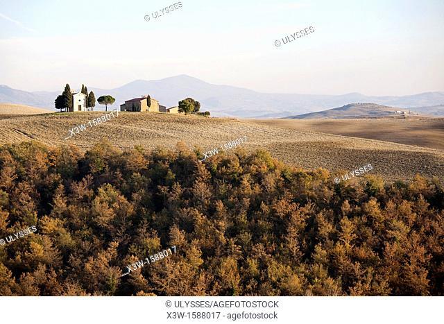 landscape, autumn, san quirico d'orcia, siena province, tuscany, italy, europe