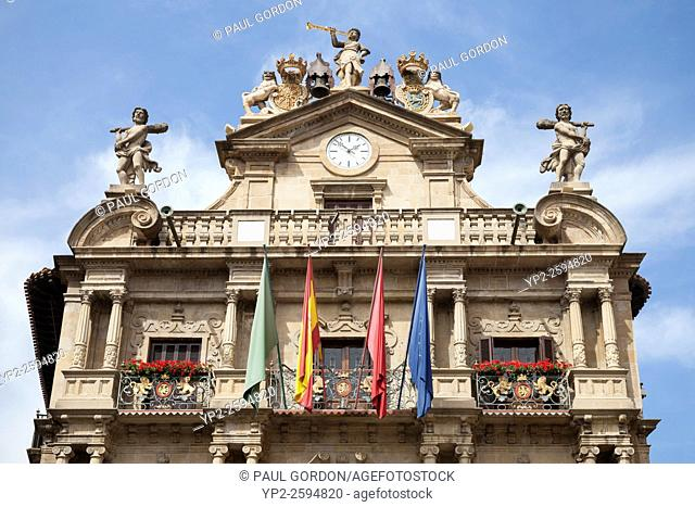 The facade of Pamplona City Hall in Plaza Consistorial - Navarre, Spain