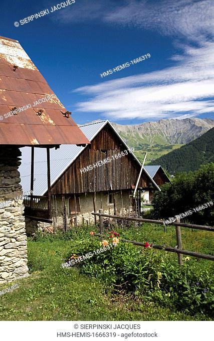 France, Savoie, Maurienne region, Arvan Valley, St Jean d'Arves, farm and barn