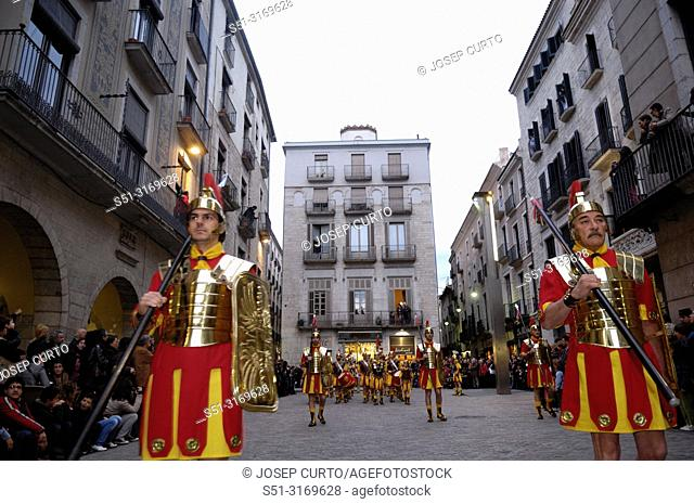 procession of Holy Week in Girona, Catalonia, Spain, Square of El Vi