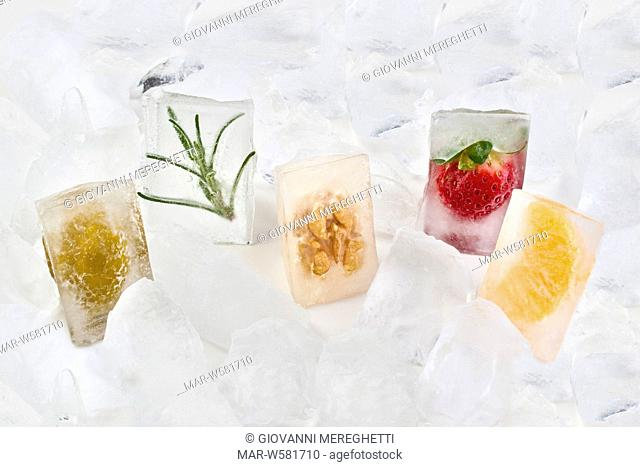 Ice cubes with vegetables and fruit