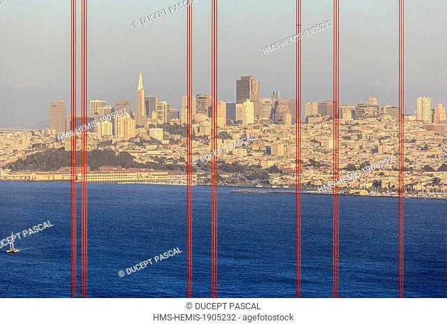 United States, California, San Francisco, Golden Gate National Recreation Area, the San Francisco skyline seen throught the cables of the Golden Gate Bridge