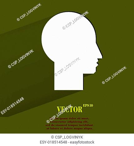 Man silhouette profile picture. Flat modern web button with long shadow and space for your text