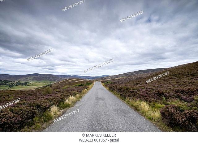 United Kingdom, England, Scotland, single track road, Cairngorms National Park