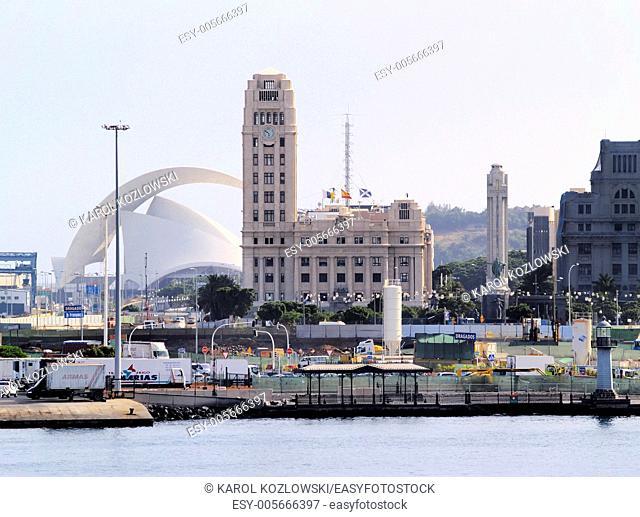 Cityscape of capital city on Tenerife - Santa Cruz, Canary Islands, Spain