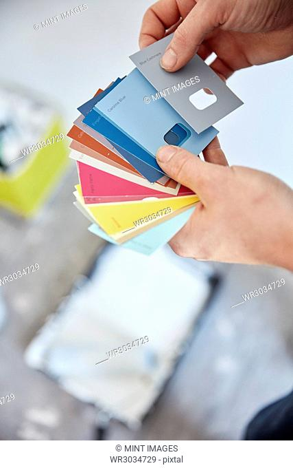 A person holding a paint colour chart, choosing a colour from the colour wheel