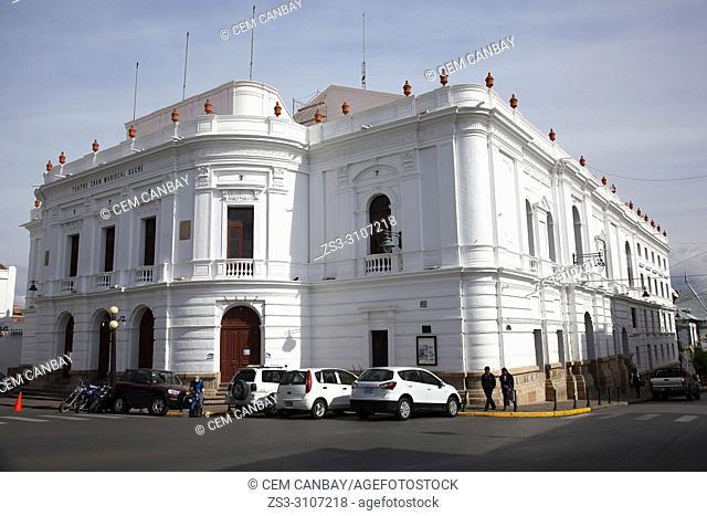 View to the Teatro Gran Mariscal Sucre-Grand Theatre in the historic center, Sucre, Chuquisaca Department, Bolivia, South America