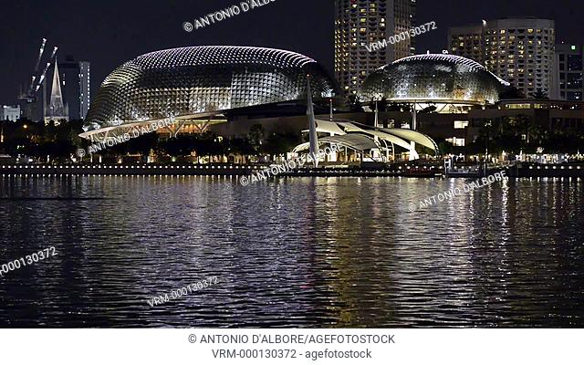 Night view of Esplanade - Theatres on the bay. Singapore