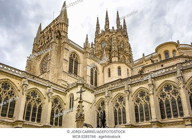 Burgos, Spain: View of the arcades of the upper gallery of the cloister of the cathedral of Burgos