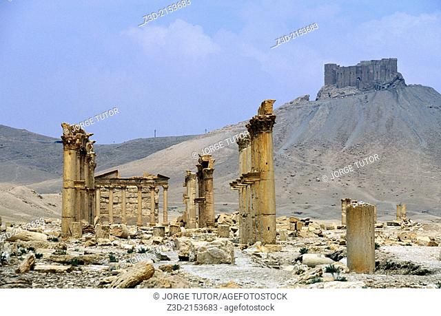 Great colonnade and Qala'at ibn Maan. Ruins of ancient Aramaic city of Palmyra. Tadmur, Syria. UNESCO World Heritage Site