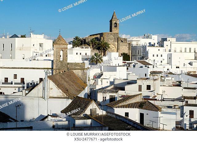 Rooftop views of the whitewashed village or Pueblos blanca of Vejer de la Frontera, Andalucia, Cadiz province Spain