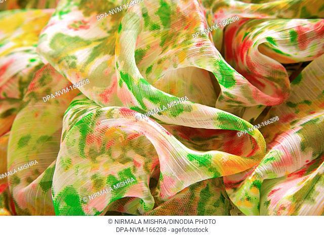 Creased ruffled rumpled shape polyester fabric sari