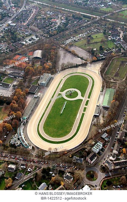 Aerial view, harness racing track, Pferderennbahn Dinslaken race track, Ruhrgebiet region, North Rhine-Westphalia, Germany, Europe