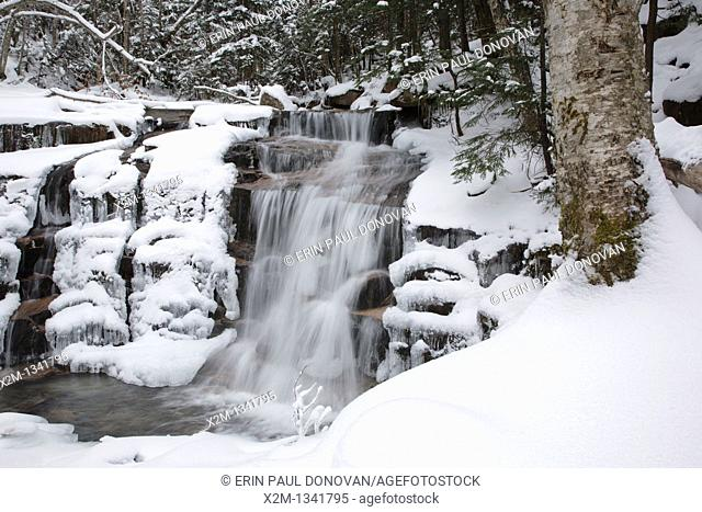 Franconia Notch State Park - Stair Falls in the White Mountains, New Hampshire USA  This waterfall is located along the Falling Waters Trail