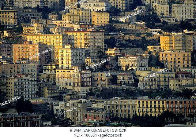 High rise apartment buildings of the Posillipo District at sunset, Naples, Italy