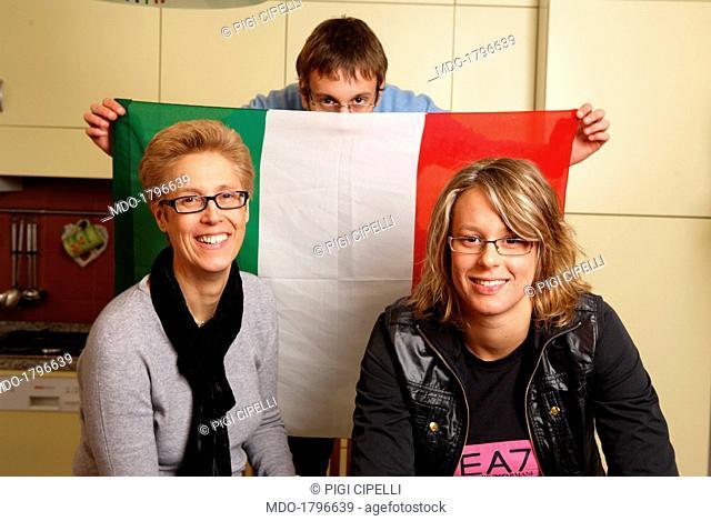 Federica Pellegrini with Alessandro Pellegrini and Cinzia Gonello