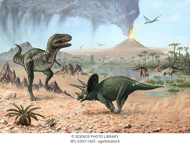 Late Cretaceous life. Artwork of a number of different prehistoric creatures that existed during the Late Cretaceous period between 99 and 65 million years ago