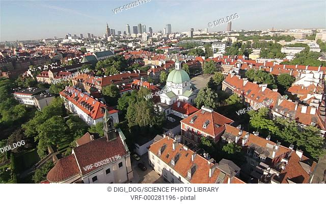 Aerial footage of houses, Warsaw, Poland
