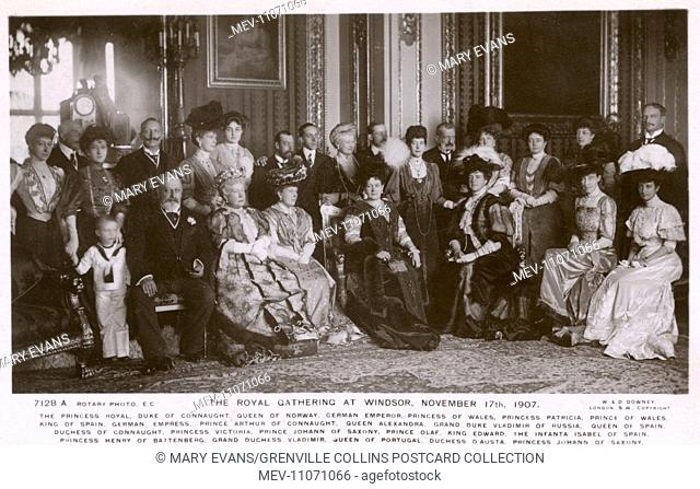Royal Gathering at Windsor - European Royalty - November 17th 1907. This card features the following: The Princess Royal, Duke of Connaught, The Queen of Norway