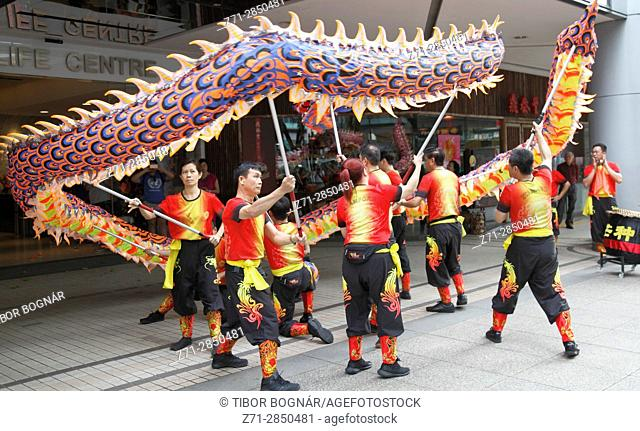 Singapore, Chinese New Year, dragon dance, people,