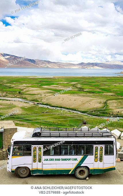 Public bus. Nomad summer festival in Tso Moriri lake, Ladakh (India)