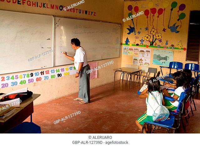 Classroom, Municipal school, Boa Esperança Community, Cuieiras River, Amazônia, Manaus, Amazonas, Brazil